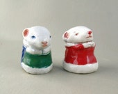 Holiday Mice Ceramic Figurine Sculpture - Pocket Pet Mouse - Porcelain Tiny Mouse Figure - Christmas Art
