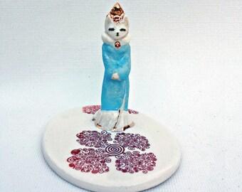Cat Figurine Ring Dish Home Decor Ceramic Handmade Tiny Goddess Kitty Totem
