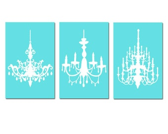 Chandelier Wall Art Chandelier Decor Trio - Set of Three 13x19 Chandelier Prints - Teen - CHOOSE YOUR COLORS - Aqua, Pale Gray, and More