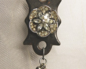Vintage KEYHOLE Necklace- Rhinestone & Religious Charms- Escutcheon- Found Object Jewelry
