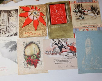 Vintage CHRISTMAS CARDS (8) - Holiday Charm- Silhouette 1936- Foil Card- Christmas Greetings