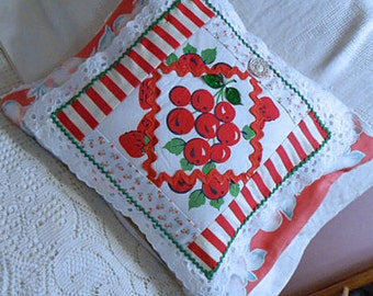 RED CHERRY STRAWBERRY Patchwork Pillow Cover Sham, Scrappy Vintage Feedsacks Tablecloth & Tea Towel Cuttings Eyelet Trim Rick Rack, Chenille
