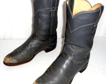 Distressed Grey Justin Roper Cowboy Boots mens size 7 D / womens 8.5 Boho Western