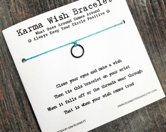 Karma Wish Bracelet - Available In Over 100 Different Colors!!!  (Mini Smooth Circle Charm - Dark Silver)