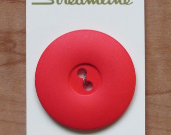 "Large Coral Red Vintage Button, 1 1/2"" (37mm) wide Round (Additional buttons available) Streamline"