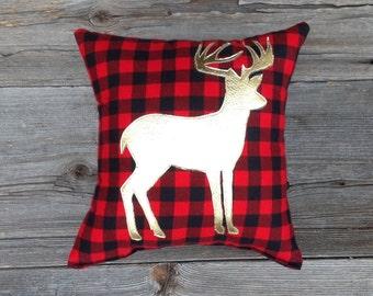 Metallic Gold Deer Pillow, Buffalo Plaid Pillow, Gifts For Him, Decorative Pillow, Woodland Decor, Christmas Gifts Under 30, Holiday Decor