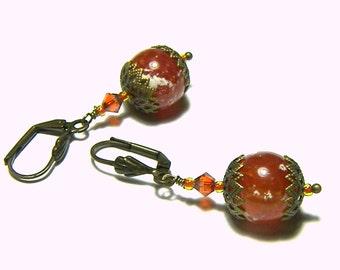 Burnt Orange Red Earrings Fire Agate Brass Filigree Earrings Beaded Swarovski Crystal Popular Jewelry Top Selling Jewelry Gift Ideas