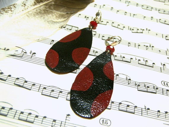 Leather Earrings Upcycled Earrings Black Red Earrings Large Earrings Long Earrings Lightweight Earrings Gift Ideas