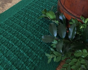 Wintergreen handwoven table runner in textured lace weave