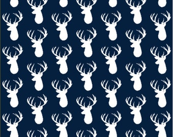 Deer Fabric - Navy Deer Head Custom Fabric By Ivie Cloth Co - Deer Cotton Fabric By The Yard with Spoonflower