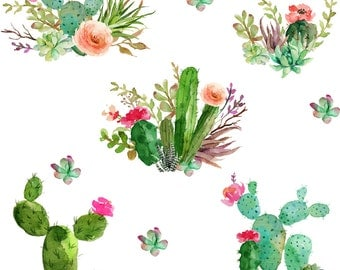 Succulent Fabric - Western Flowers - White By Shopcabin - Succulent Cotton Fabric By The Yard With Spoonflower