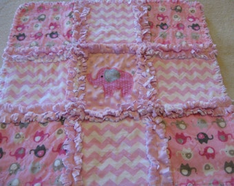 New Flannel and Minky Baby Girl Elephant Rag Quilt Blanket 22x22