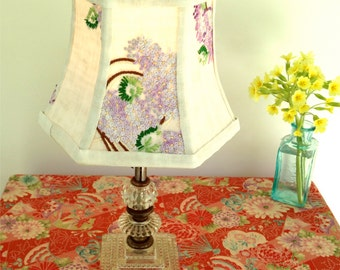 Lilac Lamp Shade Lampshade Vintage Embroidery 5 top x 8 bottom x 6 high clip top, Hex Bell - So Shabby Chic Sweet - only one!