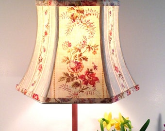 Floral Lamp Shade French Lampshade Vintage Fabric 5x8x6 Clip On Shade - French Country Style