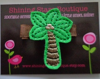Felt Hair Clips - Girls Hair Accessories - Emerald Green And Brown Tropical Palm Tree Embroidered Felt Hair Clippie For Girls - Palm Trees