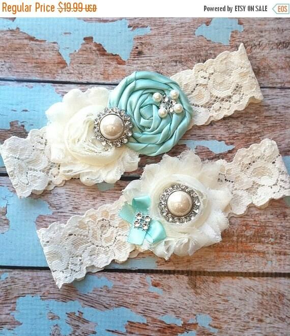 Cyber Monday/ Wedding garter / AQUA BLUE garter SET / wedding garters / bridal garter/ lace garter / vintage lace garter