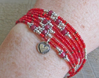 Red Ruby Sterling Silver Heart Multistrand Healing Gemstone Bracelet Necklace