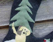 Special order for Millie and Cathy...Retriever in the Woods Felted Wool Christmas Stocking