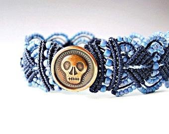 Skull Micro Macrame Bracelet in Navy Blue - Women's Macrame Bracelet - Colorful - Sugar Skull