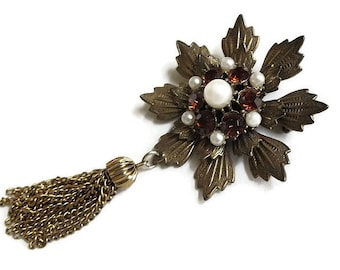Flower Tassel Dangle Brooch Amber Rhinestones & Faux Pearls Vintage