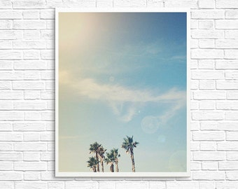 BUY 2 GET 1 FREE Palm Trees Photo, California Photography, Home Decor, Sky, Blue, Green, Wall Decor, Home Decor- Summer Daze