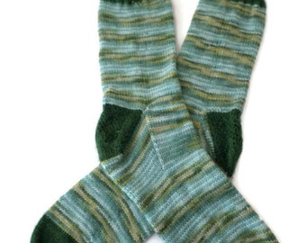 Socks - Hand Knit Men's Blue and Green Socks - Size 11-12 - Casual Socks