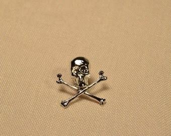 Silver Skull and Cross Bones Pin