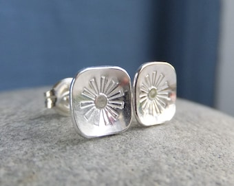 Sterling Silver Stud Earrings - FLOWER SQUARES 3 - Little Flowers Studs - Hand Stamped Textured Metalwork Jewelry - Shiny or Oxidised