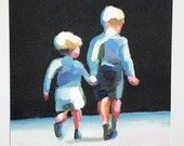 Brothers Print -  BLACK AND WHITE and blue print art on paper