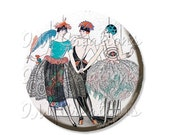 "50% OFF - Pocket Mirror, Magnet or Pinback Button - Wedding Favors, Party themes - 2.25""- Vintage 1920s ArtDeco Flapper MR350"