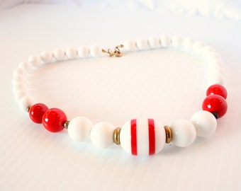 Vintage Red White Striped Bead Necklace Vintage Mod Nautical 1960s - 1970s