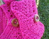 Crochet Ladies or Teens Headband Earwarmer and Adjustable Boot Cuffs,  Hot Pink with Large Wooden Buttons.