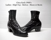 Antique Victorian Boots High Top Button Shoes Black Leather Boots Witches Shoes Gothic Boots Steampunk Boots