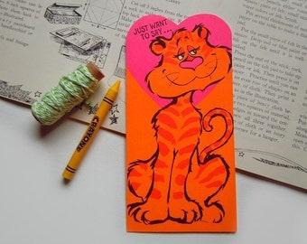 Vintage Tiger Cat Valentines Day Greeting Card Hallmark Card Florescent Hot Pink Orange