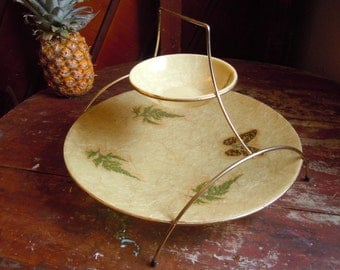 Vintage Mid Century Fiberglass Two-tier Tiered Serving Tray Party Tray Butterfly and Leaves Design