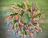 Dried flower and herb wreath.  With Artemesia, lemon leaf, and Larkspur.