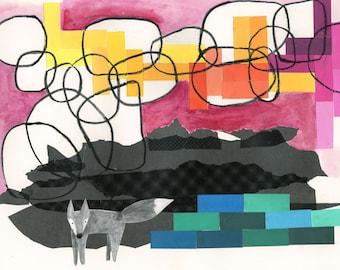 Grey Fox Sunset, fox, wolf, modern landscape print, modern wall decor, modern abstract art, art print, wall decor, sunset, mountains