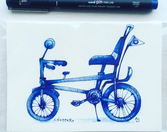 Chopper. An original drawing, of this iconic bike, by Andrea Joseph
