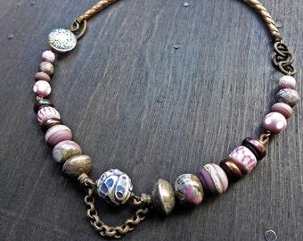Mitosis. Lilac artisan choker, rustic mixed media jewelry