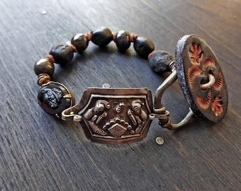 Epicedium- rustic artisan bracelet- mixed media jewelry- sterling silver