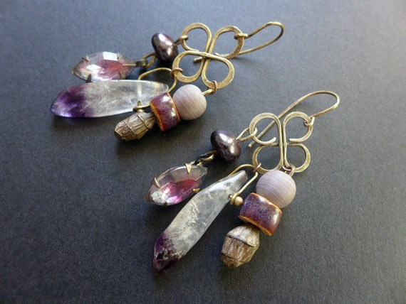 Essomenic. Purple assemblage earrings.