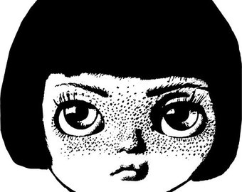 freckle face doll head clipart png image digital clip art big eye girl Digital Image Download graphics black printables digital stamp