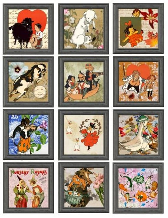 mother goose nursery rhymes printable art clip art digital download collage sheet graphics images 2.5 inch squares mother goose characters