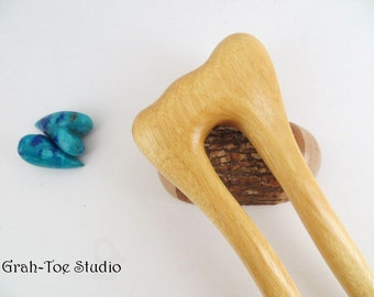 Hair Fork,Wood Hair Fork, Yellow Heart Wood, Hairfork Mermaids Tail Grahtoe Handmade,Hair Stick,Hairsticks, Hairforks,Woman gift