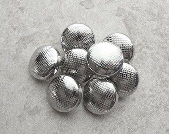 Silver Plastic Buttons 16mm - 5/8 inch Bright Metallic Pebbled Vintage Silver Shank Buttons - 8 VTG NOS Mod Mid Century Silver Buttons PL326