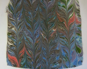 Reversible Versatile Marbled Blue Feather Design Pocket Square Made in Asheville NC MM-#16-2