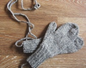 Hipster Mittens on String Adult Size Hand Knit in Grey Tweed Wool Seamless Knit Accessory in Unisex Style by Textilesone Ready to Ship