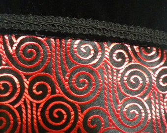 Christmas Stocking in Black and Metallic Red Brocade with Velvet Cuff