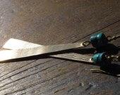 Long, Funky Brass and Turquoise Dangle Earrings - Boho Chic Jewelry - Hippie Chic - Bohemian Earrings - Brass Jewelry