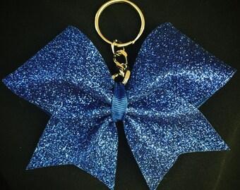 Custom Cheerleader Royal Blue Glitter Cheer Bow Key Chain